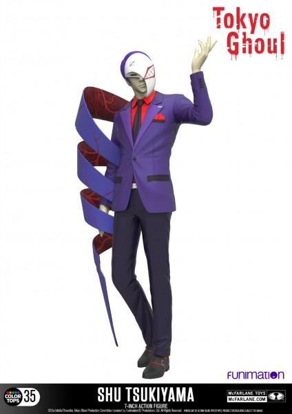 Zum Manga/Anime ´Tokyo Ghoul´ kommt diese detailreiche, bewegliche Actionfigur von Shu Tsukiyama. Sie ist ca. 18 cm groß und wird mit weiterem Zubehör und Base in einer nummerierten Fensterbox geliefert.
