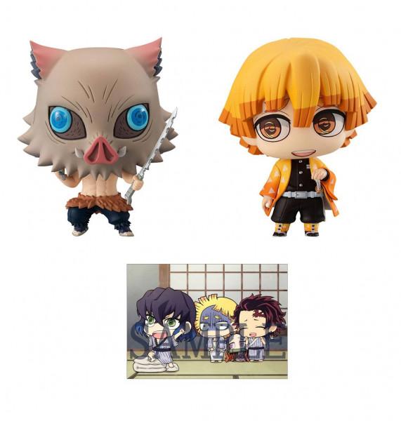 Zur beliebten Anime-Serie ´Demon Slayer: Kimetsu no Yaiba´ kommt dieser Pack mit 2 super-niedlichen Sammelfiguren. Jede Figur ist ca. 7 cm groß. Das Set wird in einer Fensterbox geliefert.Jedes Set kommt inklusive einer Sammelkarte.