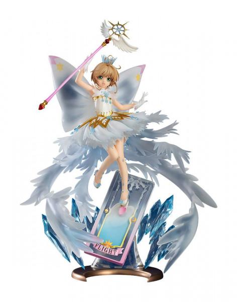 """Zur Anime-Serie """"Cardcaptor Sakura: Clear Card"""" kommt diese detailreiche Statue von Sakura Kinomoto. Die aus PVC gefertigte Statue kommt im Maßstab 1/7 und ist ca. 36 cm groß. Sie wird in einer bedruckten Fensterbox geliefert."""
