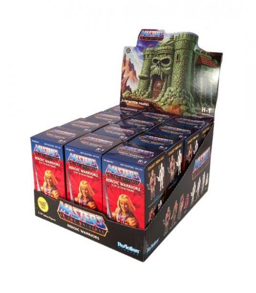Display mit 12 detailreichen ReAction-Actionfiguren aus Kunststoff. Jede Figur ist ca. 10 cm groß und wird einzeln in einer Blind Box geliefert.