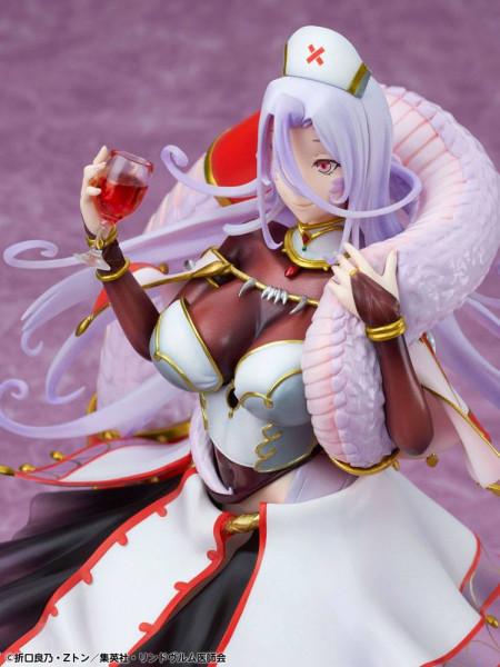 Zum Anime ´Monster Girl Doctor´ kommt diese detailreiche Statue. Die aus PVC gefertigte Statue kommt im Maßstab 1/8 und ist ca. 21 cm groß. Sie wird in einer bedruckten Fensterbox geliefert.